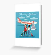 Airplane Travel. Travel Banner. Tourism Industry. Active People. Girl with Baggage. Man with Baggage. Happy Couple Greeting Card