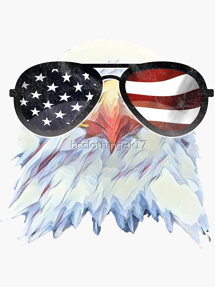 b83525fa9298 American Eagle US Flag Glasses 4th of July Patriotic T Shirt by  bcclothing2k17