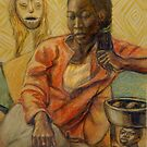 Woman with mask by Fiona O'Beirne