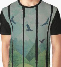 Eagles, Mountains, Grunge Landscape Graphic T-Shirt