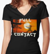 Full Contact Women's Fitted V-Neck T-Shirt