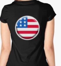 USA BUTTON, American Flag, Stars & Stripes, Pure & Simple, America, USA Women's Fitted Scoop T-Shirt