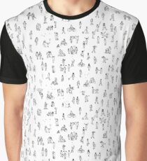 Tiny Pedestrians (b&w) Graphic T-Shirt