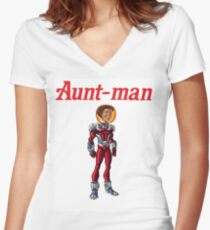 Aunt-Man Women's Fitted V-Neck T-Shirt