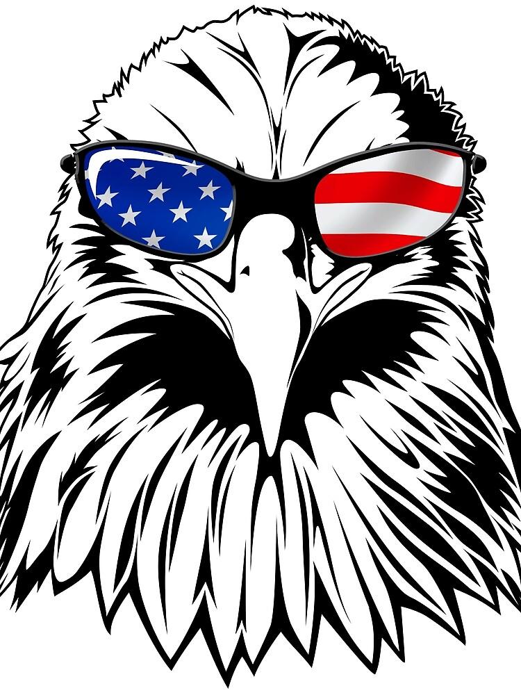 Patriotic Eagle America camiseta de la bandera americana del 4 de julio de LiqueGifts