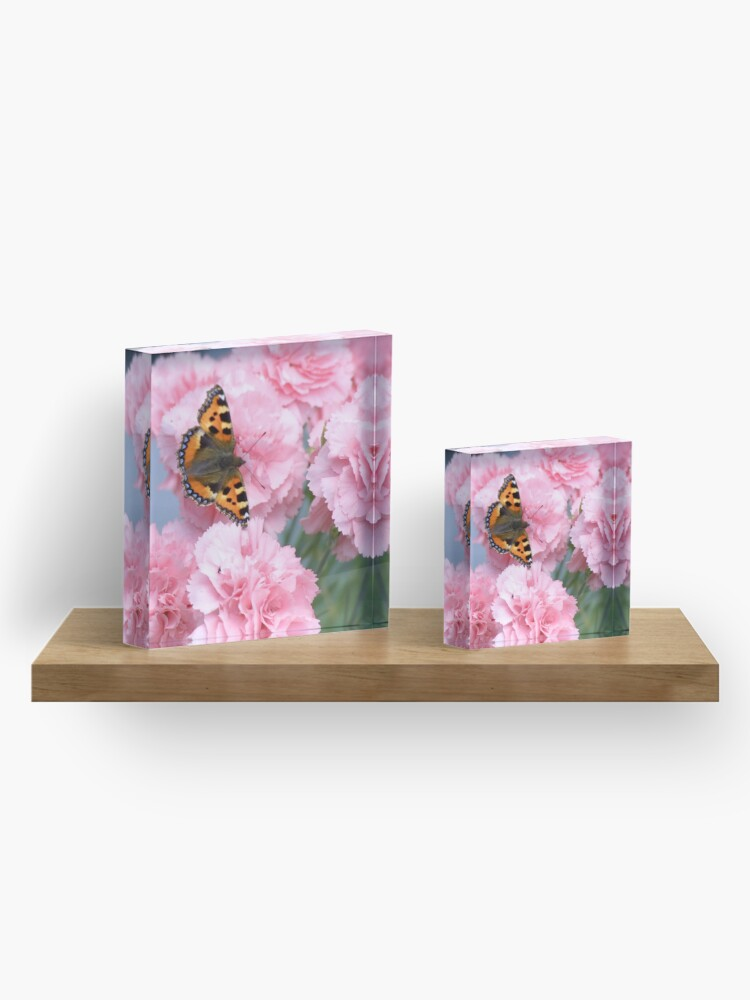 Alternate view of Pinks and the papillon Acrylic Block