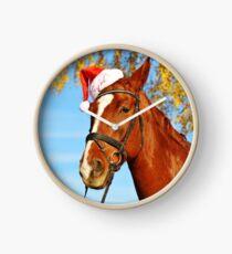 Lustiges Sankt-Hut-Pferdeweihnachten Uhr