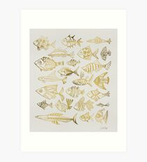 Gold Inked Fish Art Print