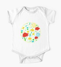 Spring Tossed Flowers on Pastel Yellow Background Kids Clothes