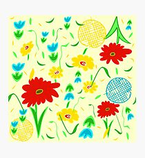Spring Tossed Flowers on Pastel Yellow Background Photographic Print