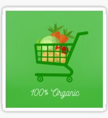 Organic Food. Healthy Food. Vegetables in Shopping Cart. Tomato, Potatoes, Cabbage, Carrot. 100% Organic. Vector illustration Sticker