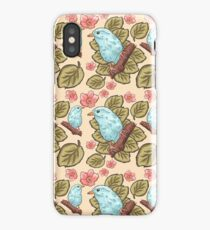 Vintage brown pink teal green cute birds botanical floral iPhone Case/Skin