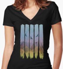 Eagles, Mountains, Grunge Landscape Women's Fitted V-Neck T-Shirt
