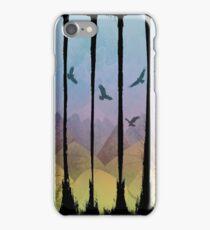 Eagles, Mountains, Grunge Landscape iPhone Case/Skin