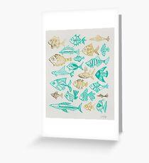 Tarjeta de felicitación Gold & Turquoise Inked Fish