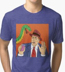 Man with Glass of Wine. Stop Drinking. Alcohol Snake. Alcohol Addiction. Social Advertising. Pop Art Banner. Vector illustration Tri-blend T-Shirt