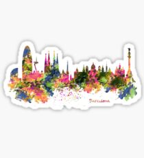 Barcelona Watercolor Skyline Sticker