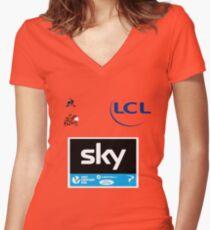 Team Sky Yellow Jersey 2017 - Le Tour De France Women's Fitted V-Neck T-Shirt