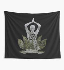 OM Namaste Yoga Pose Mountain Forest Duality  Wall Tapestry