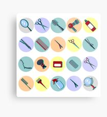 Barber Tools. Hairdresser Tools. Hair Beauty. Hair Accessories. Fashion Equipment. Scissors, Comb. Mirror, Curler. Icons Set. Vector illustration. Flat style Metal Print