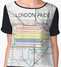 London Pride Tube Map (with text) Women's Chiffon Top