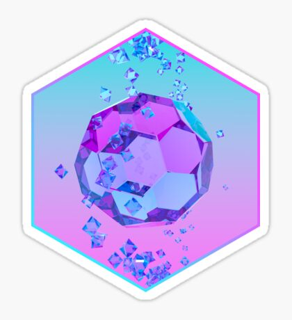Orbiting Gems Cyan Pink - 3D Design Sticker