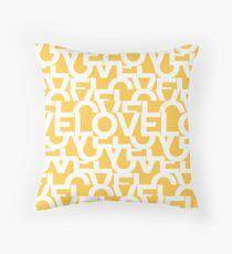 Hidden Yellow LOVE message text art Throw Pillow
