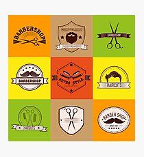 Barber Shop. Barber Logo. Barber Label. Gentleman Style. Men's Fashion. Barber Icon. Logo Set. Vintage Style. Vector illustration Photographic Print
