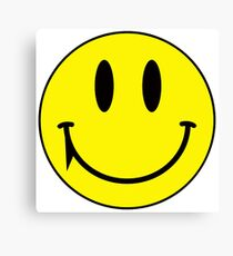 Yellow face smiling with fang vampire Canvas Print