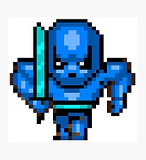 8bit Game Character: Mithril Blue Knight Photographic Print