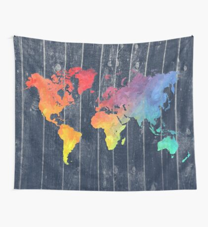 world map 97 colors blue #worldmap #map  Wall Tapestry