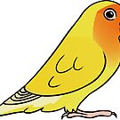Lovebird Roseicollis Lutino Orange Face by Mariewsart