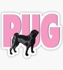 Black Pug - Pink Pug Sticker