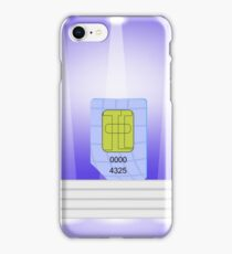 Blue SIM Card  on Light Background. SIM Card on the White Steps. iPhone Case/Skin