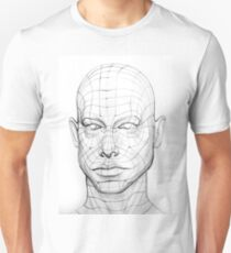 Head of the Person with a 3d Grid.  Wire Model Drawing Unisex T-Shirt