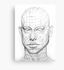 Head of the Person with a 3d Grid.  Wire Model Drawing Canvas Print