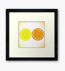 Lemon and Orange Isolated on White Background Framed Print