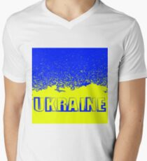 Yellow and Blue Flag of Ukraine. Symbol of Independence. Men's V-Neck T-Shirt