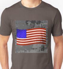 Flag of USA on Grunge Grey Texture. T-Shirt