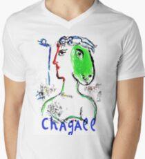 CHAGALL: Vintage Woman Horse Art Print Mens V-Neck T-Shirt