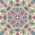 Happiness is Now Colorful Illustrated Mandala by Kelly Dietrich