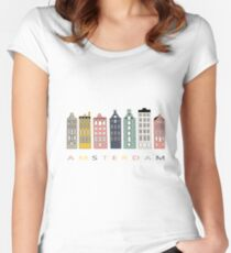 Amsterdam colorful canal houses Women's Fitted Scoop T-Shirt