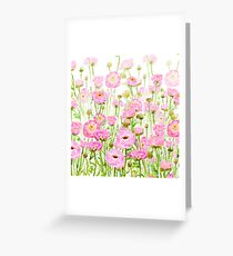 pink  ranunculus buttercup  field  Greeting Card