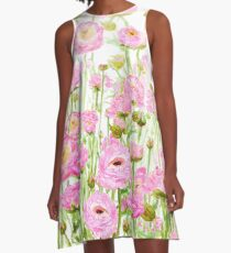 pink  ranunculus buttercup  field  A-Line Dress