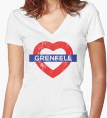 Grenfell tower shirt Women's Fitted V-Neck T-Shirt