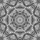 Doodle Mandala in Black and White by Kelly Dietrich