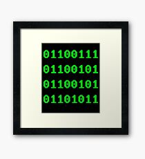Geek in Binary Code - Retro Funny Coding Programmer clothing Framed Print