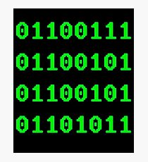 Geek in Binary Code - Retro Funny Coding Programmer clothing Photographic Print