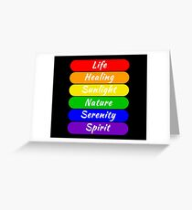 LGBT Flag Color Meanings (Black Background) Greeting Card