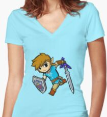 Toon Link of the Wild Women's Fitted V-Neck T-Shirt